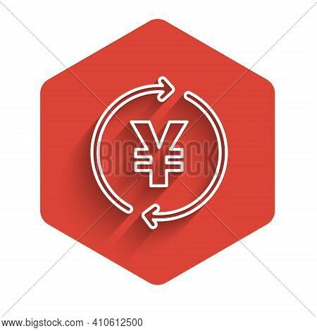White Line Coin Money With Yen Symbol Icon Isolated With Long Shadow. Banking Currency Sign. Cash Sy