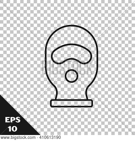 Black Line Balaclava Icon Isolated On Transparent Background. A Piece Of Clothing For Winter Sports