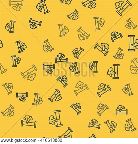 Blue Line Broken Metal Pipe With Leaking Water Icon Isolated Seamless Pattern On Yellow Background.