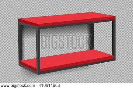 Red Shop Product Shelves. Blank Empty Showcase Display, 3d Supermarket Retail Shelves. Bookcase Stor