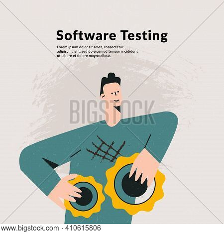 It Software Application Testing Quality Assurance Concept. Application Stress Testing, Bug Removal,