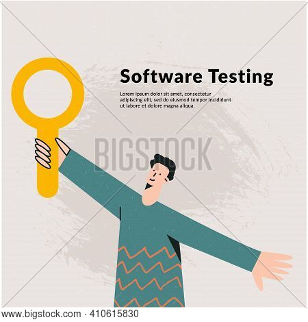 Concept Of A Programmer That Analyze It Software, Application Testing Quality Assurance. Young Man W