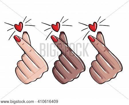 Nails Love, Manicure Like Sign. Korean Love Gesture, Emoji Manicure Master Stickersfemale Hand Showi
