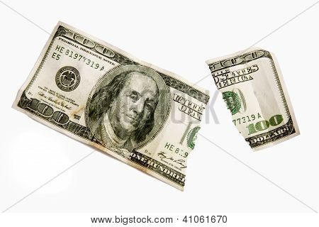 A Torn One Hundred Dollar Bill Isolated. XXXL