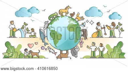 Biodiversity And Environmental Animal Species Protection Outline Concept