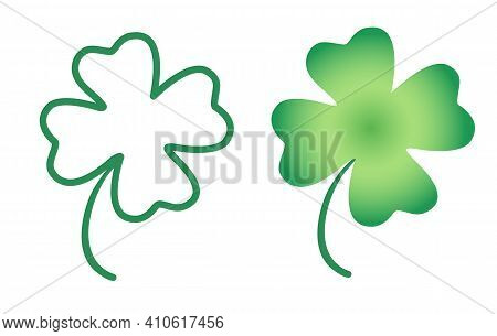 Vector Illustration Of A Lucky Clover. Vector Set Icons Of Lucky Clover For Patrick's Day.