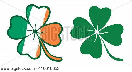 Vector Set Lucky Clover Like Irish Flag. Vector Illustration Of A Lucky Four Leaf Clover With Flag O