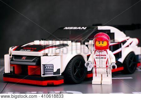 Tambov, Russian Federation - June 25, 2020 Lego Speed Champions. Lego Nissan Gt-r Nismo Driver Minif