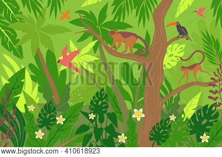 Wildlife Tropic Flat Composition With Rainforest Scenery And Exotic Plants With Birds And Animals On