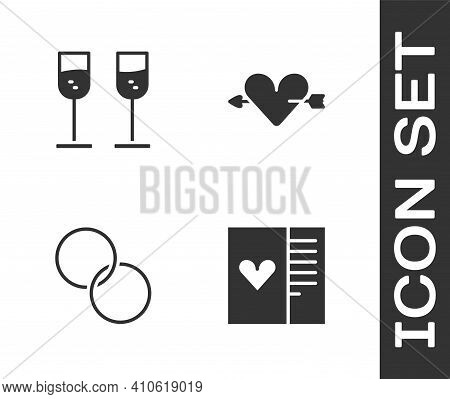 Set Postcard With Heart, Glass Of Champagne, Wedding Rings And Amour And Arrow Icon. Vector