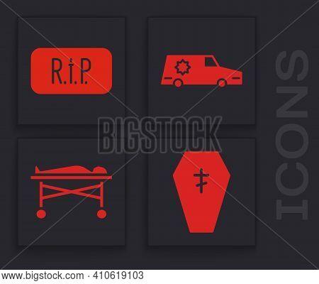 Set Coffin With Cross, Speech Bubble Rip Death, Hearse Car And Dead Body In The Morgue Icon. Vector