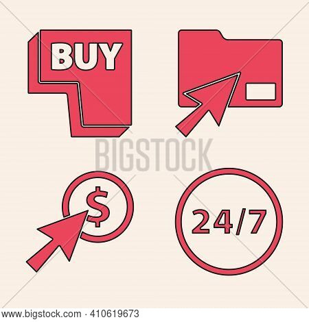 Set Clock 24 Hours, Buy Button, Cursor Click Document Folder And Cursor And Coin Icon. Vector