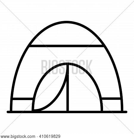 Tourist Tent On White Isolated Background. Linear Black Silhouette Of A Tent. A Tent For Outdoor Rec