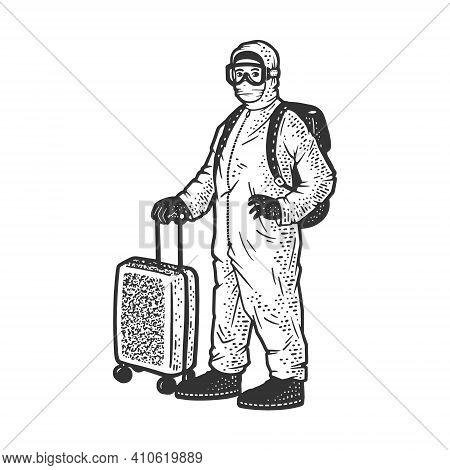 Tourist In Protective Medical Suit With Suitcase On Wheels Sketch Engraving Vector Illustration. T-s