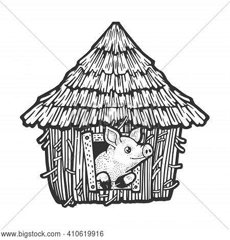 Pig In Straw House Sketch Engraving Vector Illustration. T-shirt Apparel Print Design. Scratch Board
