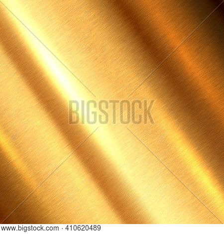 Shiny Brushed Metallic Gold Background Texture. Bright Polished Metal Bronze Brass Plate. Sheet Meta