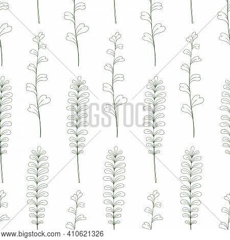 Greenery Vector Sketch Botanical Seamless Pattern. Forest Greenery Scrapbook Digital Paper.