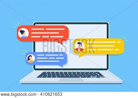 Computer Online Chat Notices. Desktop Pc With Chatting Bubble Notifications, Concept Of People Messa