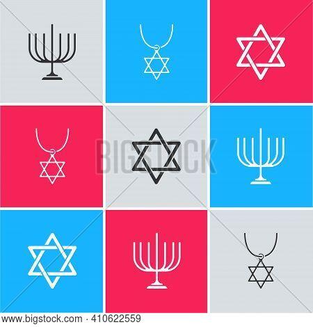 Set Hanukkah Menorah, Star Of David Necklace On Chain And Icon. Vector