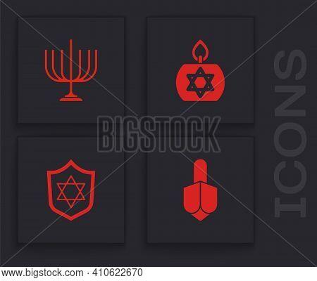 Set Hanukkah Dreidel, Menorah, Burning Candle And Shield With Star Of David Icon. Vector