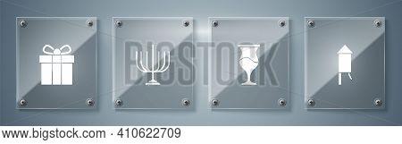 Set Firework Rocket, Jewish Goblet, Hanukkah Menorah And Gift Box. Square Glass Panels. Vector