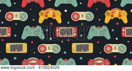 Seamless Retro Pattern With Joysticks. Video Game Controller Gaming Cool Print For Boys And Girls. P