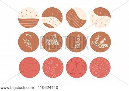 Set Of Abstract Story Highlight Cover Icons. Collection Of Vector Circle Pastel Boho Color Illustrat