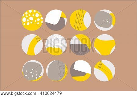 Set Of Abstract Story Highlight Cover Icons. Collection Of Vector Circle Yellow Grey Color Illustrat