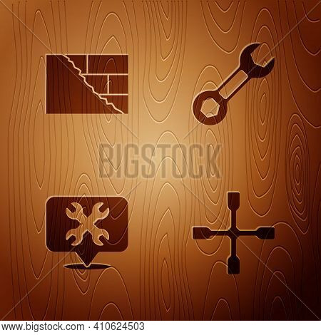 Set Wheel Wrench, Bricks, Location With And Wrench Spanner On Wooden Background. Vector