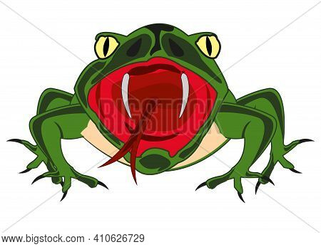 Cartoon Amphibious Frog On White Background Is Insulated