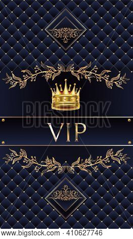 Vectors Vip Card. Gold Card With The Crown Of The King. Blue Lilac Gradient Geometric Ornament In Or