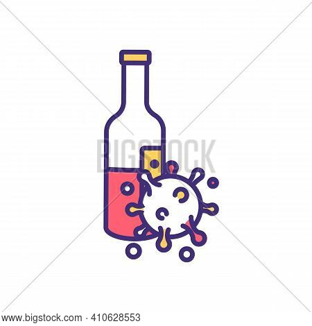 Expired Alcohol Rgb Color Icon. Feeling Sick From Color And Smell. Bad, Spoiled Wine. Vinegary And A