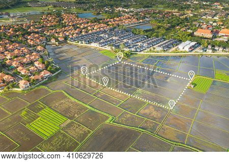 Land Plot In Aerial View. Include Landscape, Cultivate Area, Agricultural Plant, Pin Location Icon.