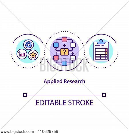Applied Research Concept Icon. Solve Specific Problems Or Provide Innovative Solutions To Issues. Sc