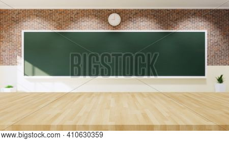 3d Rendering Of Board Background. Also Called Blackboard Or Chalkboard. That Clean And Blank Empty S