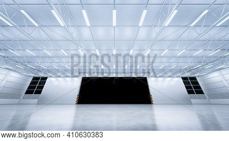 3d Rendering Of Hangar Or Industrial Building Inside. Safety And Protection With Automatic Sliding D