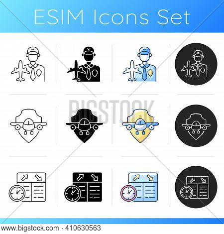 Aviation Icons Set. Aircraft Maintenance. Aviation Security And Fligts Safety. Flight Scheduling. Ai
