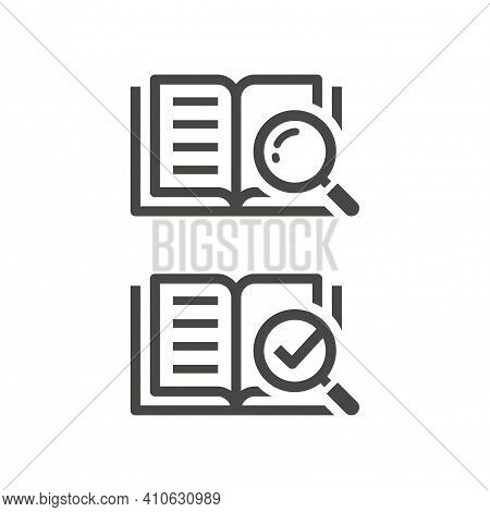 Open Book With Magnifier And Checkmark Icon. Manual, Instruction And Information Search Symbol With