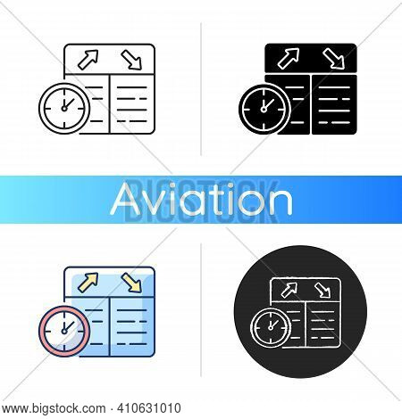 Flight Scheduling Icon. The Ability To Plan Trips. Compliance With The Schedule. Punctual Airlines.