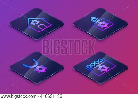 Set Isometric Line Jewish Synagogue, Star Of David Necklace On Chain, Burning Candle And Calendar. B