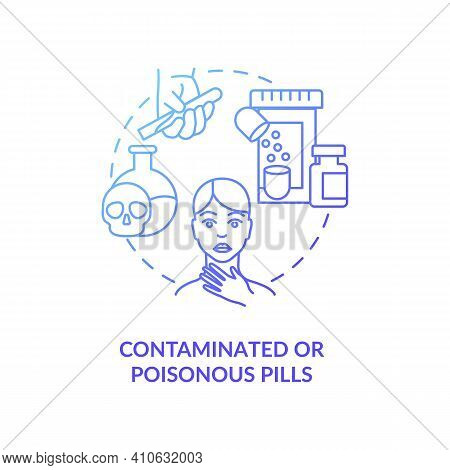 Contaminated Or Poisonous Pills Concept Icon. Online Pharmacy Idea Thin Line Illustration. Safe Shop