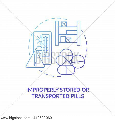 Improperly Stored Or Transported Pills Concept Icon. Online Pharmacy Idea Thin Line Illustration. Sa