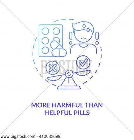 More Harmful Than Helpful Pills Concept Icon. Online Drug Store Idea Thin Line Illustration. Safe Sh