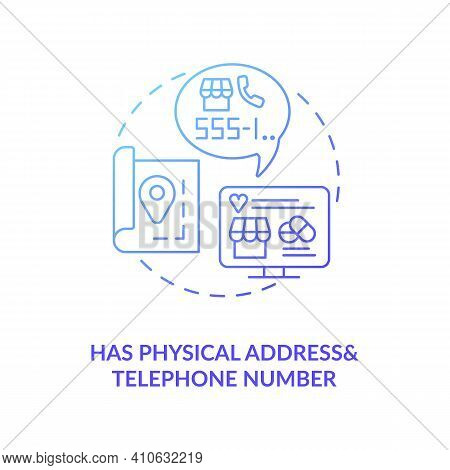 Has Physical Address And Telephone Number Concept Icon. Online Drug Store Idea Thin Line Illustratio