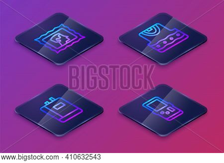 Set Isometric Line Postal Stamp, Book, Waistcoat And Tetris. Blue Square Button. Vector