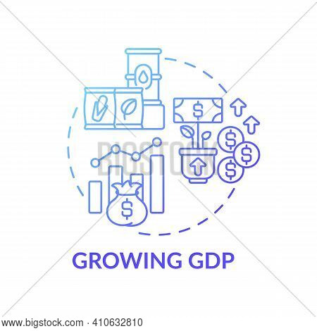 Growing Gross Domestic Product Concept Icon. Market And Monetary Value Of Goods And Services Idea Th