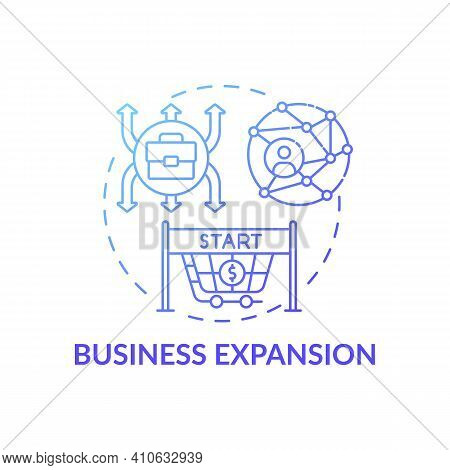 Business Expansion Concept Icon. Market Share Expand Idea Thin Line Illustration. New Strategies For