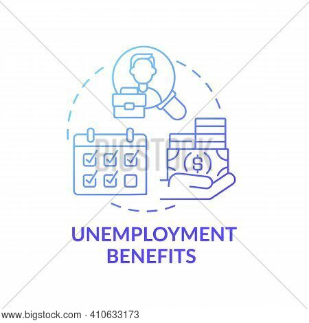 Unemployment Benefits Concept Icon. Lose Job And Temporary Income Idea Thin Line Illustration. Getti