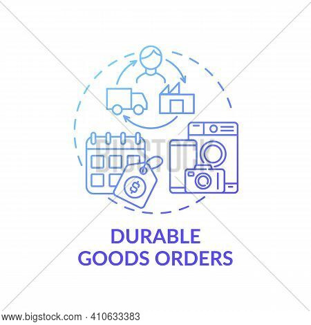 Durable Goods Orders Concept Icon. Economic Indicator Idea Thin Line Illustration. Shipments And Inv