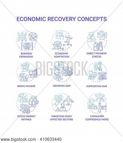 Economic Recovery Concept Icons Set. Rating Of Stock Market Idea Thin Line Rgb Color Illustrations.